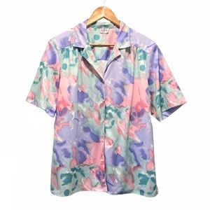 90's Vintage Pastel Button-Down Abstract Print Top